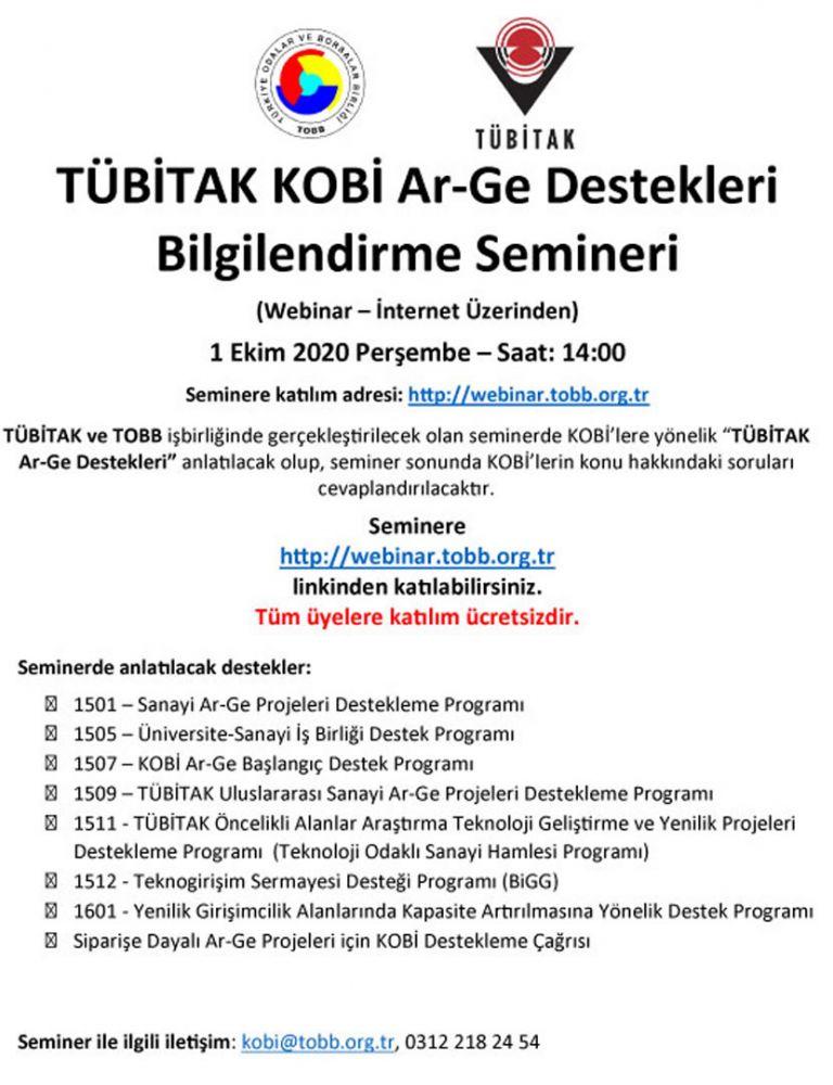 KOBİ AR-GE DESTEKLERİ SEMİNERİ (İNTERNET ÜZERİNDEN)