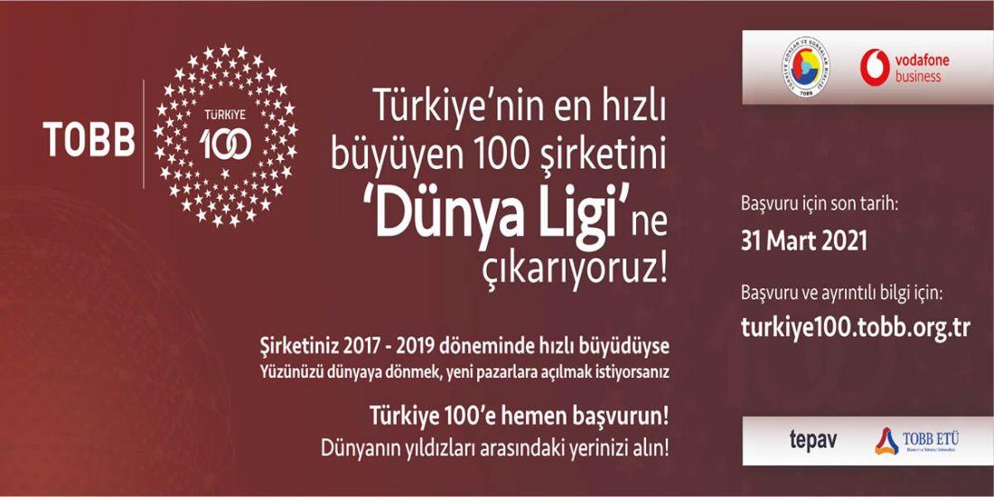 TÜRKİYE'NİN EN HIZLI BÜYÜYEN 100 ŞİRKETİ İÇİN SON BAŞVURU 31 MART 2021