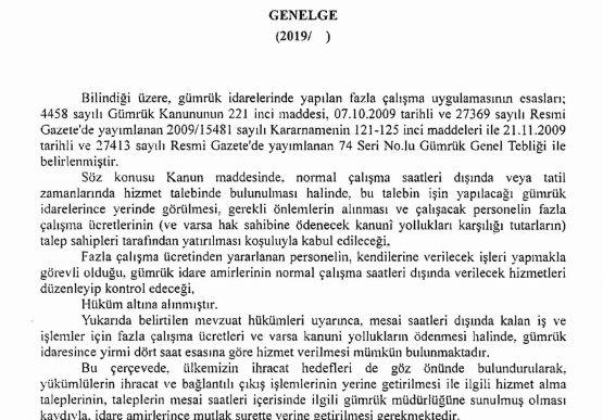 FAZLA MESAİ İŞLEMLERİ Hk. (2019/38 sayılı Genelge)