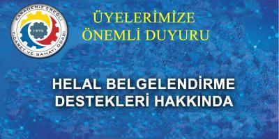 HELAL BELGELENDİRME DESTEKLERİ HAKKINDA DUYURU