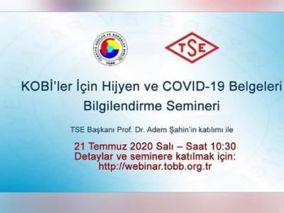 KOBİ'ler İçin Hijyen ve COVID-19 Belgeleri Bilgilendirme Webinarı