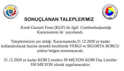 KREDİ GARANTİ FONU (KGF) İLE İLGİLİ KARARNAME